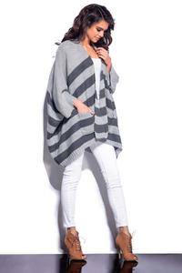 Dark Grey Striped Loose Cut Cardigan
