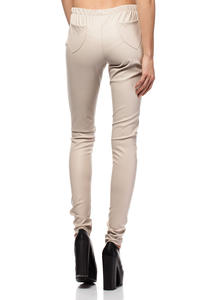 Cream Skinny Pants with Elasticized Waist and Hip Pockets