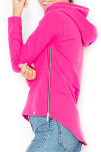 Pink  Ladies Hoodie with Zips at the Sides