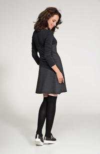 Dark Grey&Black Long Sleeved Flared Mini Dress