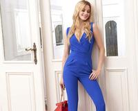 Blue Sleeveless V-Neck Jumpsuit