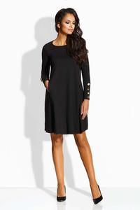 Black Flared Dress with Golden Buttons