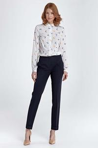 Twig Pattern Long Sleeved Shirt with Round Collar