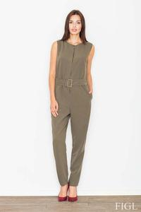 Olive Green Zipper Closure Belted Ladies Jumpsuit