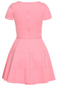 Pink Cap Sleeves Bateau Neck Seam Dress