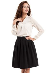 Black Pleated Knee Length Skirt