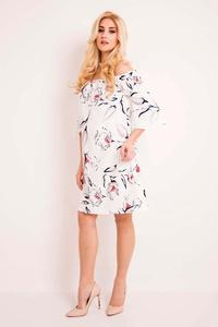 Ecru Off Shoulders Floral Pattern Dress