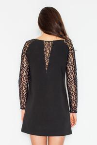 Black Flared Mini Dress with Lace