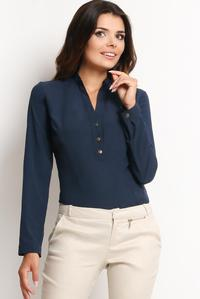 Navy Blue Elegant Office Style Shirt with Buttons