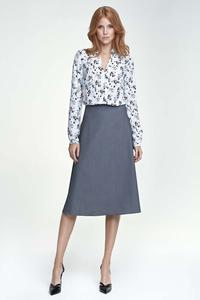 Grey Flared Stylish Midi Skirt