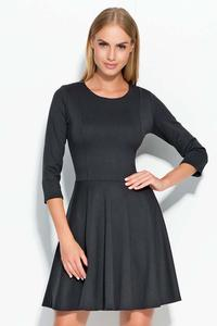 Black 3/4 Sleeves Flared Mini Dress