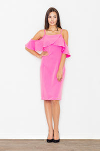 Pink Spaghetti Straps Pencil Dress with a Frill