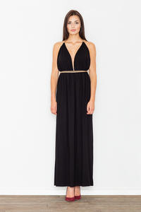 Black Maxi Long Greek Style Deep Neckline Dress