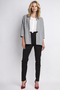 Grey Elegant No Buttons Blazer