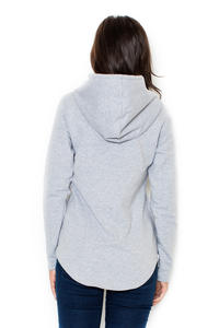 Grey  Ladies Hoodie with Zips at the Sides