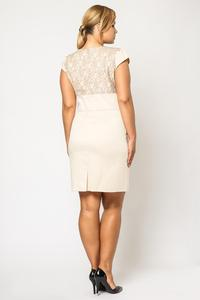 Beige Elegant Evening Dress with Lace Top