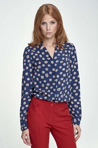 Dark Blue Pumpkin Pattern V-Neckline and Classic Collar Shirt