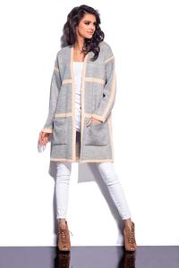 Grey&Salmon Long Cardigan with Contrasting Piping