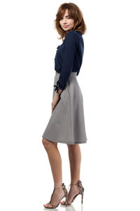 Grey Flared Knee Lenght Skirt with Pockets