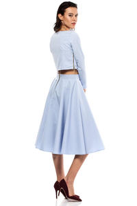 Blue Pleated Midi Skirt with Back Zipper Fastening