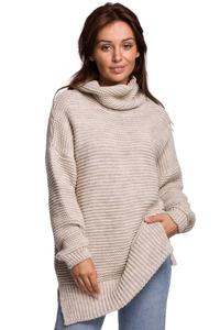 Women's Oversize Turtleneck Sweater - Beige