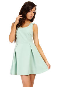 Mint Sleeveless Pleated Korean Flippy Dress