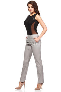 Grey Ultra Sleek Chic Straight Pants