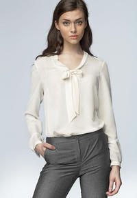White Chiffon Blouse with Bow Neckline and Long Sleeves