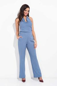 Blue Elegant Open Back Jumpsuit