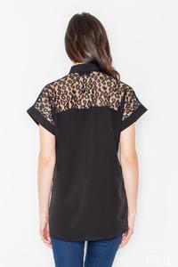 Black Short Sleeves Shirt with Lace Top Part