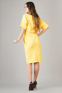 Yellow Loose Neckline Self Tie Belt Casual Dress