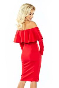 Red Midi Bodycon Dress with Spain Style Neckline
