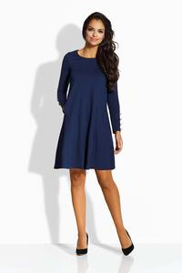 Dark Blue Flared Dress with Golden Buttons