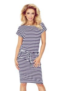 Navy Blue White Pencil Dress with Stripes