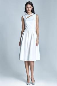 Ecru Sleeveless Flared Midi Dress