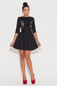 Elbow Sleeve Fit and Flare Black Dress with Lace Front Panels