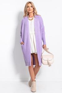 Long Ribbed Cardigan without Clasp - Ecru