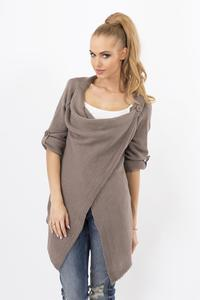 Cappuccino Brown Stylish One Button Rolled-up Sleeves Cardigan