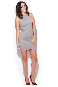 Grey Sleeveless Chic Dress with Back Zipper Fastening