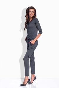 Dark Grey Slim Legs Ladies Jumpsuit