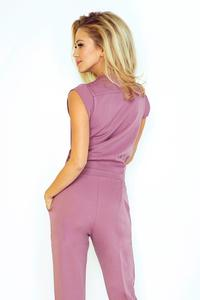 Purple V-Neckline Elegant Ladies Jumpsuit