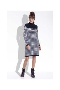 Black&White Winter Style Pattern Dress