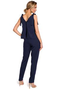 Dark Blue Elegant Ladies Jumpsuit with Bows