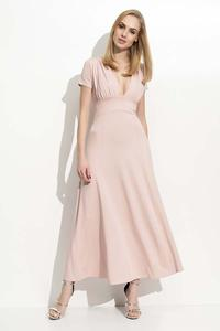 Pink Maxi Long Deep Neckline Dress