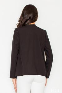 Black Office Style Loose Lapels Blazer