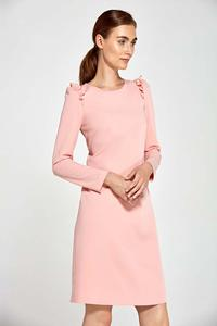 Pink Flared Dress with Frills on The Shoulders