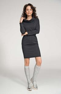 Dark Grey Loose Tourtleneck Knee Length Dress