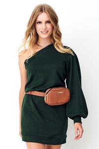 Green Knitted Mini One Shoulder Dress