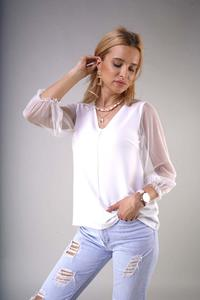 V-neck blouse with transparent 3/4 sleeves - Ecru