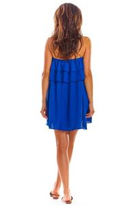 Airy blue mini dress with a Spanish neckline